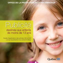 Couverture du guide d'application sur la publicité faites aux enfants du Québec.