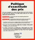 Affiche Politique d'exactitude des prix.