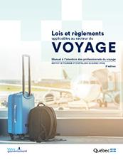 Page couverture du manuel d'études Lois et règlements applicables au secteur du voyage.